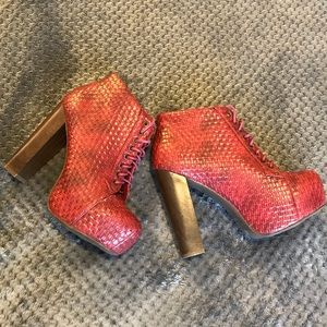 Red basket weave heeled bootie